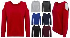 NEW WOMENS LADIES STYLISH CUT OFF CROP COLD SHOULDER SCOOP NECK TOPS JUMPERS