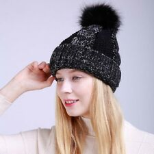 Winter Women Head Warm Knitted Wool Hat Thickened Cap With Fur Ball