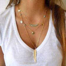 Women Feather Necklace Metal Alloy Multi Layer Link Chain Necklaces Jewelry Gift