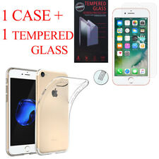 """For Apple iPhone 8 4.7"""" : Silicon Case + Tempered Glass Screen Protector"""