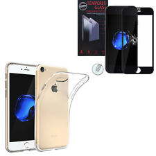 """For Apple iPhone 7 4.7"""" : Silicon Case + Tempered Glass Screen Protector - Black"""