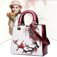 Women Leather Square Handbag Plum Blossom Lady ShoulderBag Hobo Satchel Tote Bag