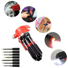 Red 8 in 1 Multi Screwdriver 6 LED Torch Hand Repair Tools Up Multi-functional