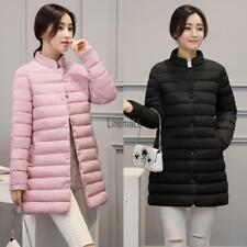 Women Stand Neck Long Sleeve Solid Button Up Medium Long Jacket Coat LM
