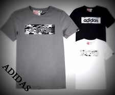 NEW MENS BLACK ADIDAS CAMO LOGO CREW NECK SHORT SLEEVE  T-SHIRT  S M L XL 2XL