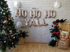 """Rose Gold Balloons,Gold Silver Letters Foil 16"""" HO HO HO YALL"""