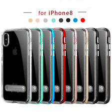 For Apple IPhone 8 Plus X Case Thin Clear Silicon Armor Bumper Back Stand Cover