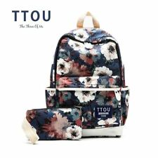 TTOU Printing Backpack Flowers Canvas Backpack Student School Bag Graffiti Backp