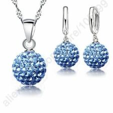 Woman Necklace Crystal 925 Sterling Silver Earring Pendant Jewelry Set Austrian