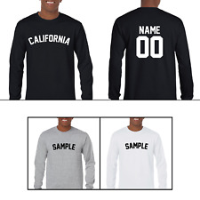 State of California Custom Personalized Name & Number Long Sleeve Jersey T-shirt