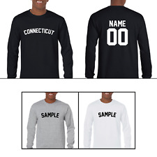 State Connecticut Custom Personalized Name & Number Long Sleeve Jersey T-shirt