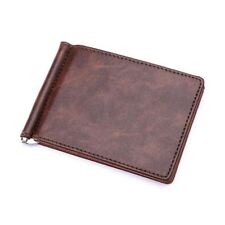 FLAMA Brand Solid simple Mini Men's leather wallet Money clip with clamp Slim pu