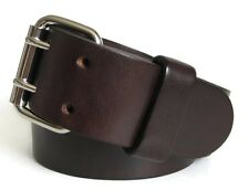 """1.75"""" Wide Brown Bridle Leather Belt Mens 2 Prong Buckle Handmade in USA"""
