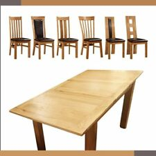 Solid Oak Extending Dining Table And Six Oak Chairs 7 Chairs Design 120-165CM