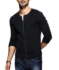 Mens Casual T Shirt Zipper Front Round Neck Chic Long Sleeve Slim Tops Tee M-XXL