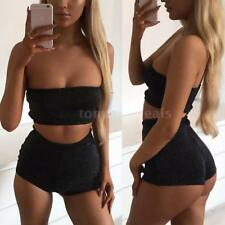Women Summer Off-shoulder Crop Top & Shorts Bodycon Clubwear 2PCS Set S/M/L A2M3