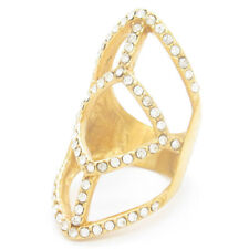 Stylish Crystal Gold  Full Finger Joint  Knuckle Ring Hollow Out Jewellery