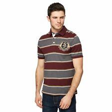 St George By Duffer Mens Big And Tall Dark Red And Grey Green Striped Polo Shirt