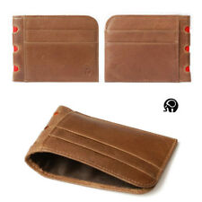 Mens Real Leather Vintage Mini Wallet Credit Card Purse Cash Coin Holder Brown