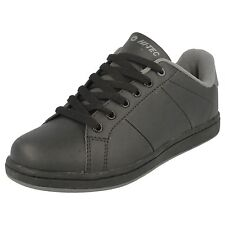 Boys Hi-Tec Black/Charcoal Lace Up School Trainers - Strada Jnr