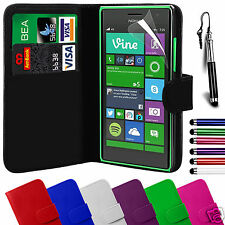 PU Leather Wallet Flip Case Cover & Screen Film & Stylus FOR Nokia Lumia Models
