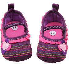 NEW Baby Girl Purple PInk Ruffle Flower Mary Jane Crib Shoes 0-6 6-12 12-18 M