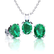 STERLING SILVER CREATED EMERALD NECKLACE- EARRING SET-in 3 sizes,3 metal colors