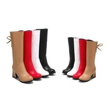 Womens Fashion Chunky Heels Mid Calf Boots Synthetic Leather Side Zipper Casual