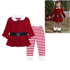 Kids Baby Girl Xmas T-Shrit Tops Dress+Striped Leggings Pants Set Clothes Outfit