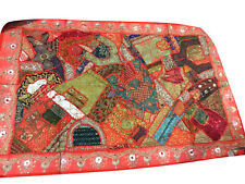 VINTAGE PATCHWORK HANDMADE INDIAN EMBROIDERED DECORATIVE WALL HANGING TAPESTRY
