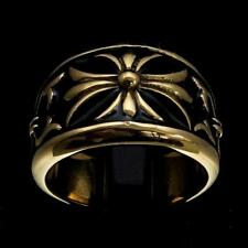 MEDIEVAL BRONZE KNIGHT RING FLEUR DE LIS CROSS LILY WITH BLACK ENAMEL ANY SIZE