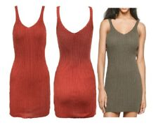 Womens Cami Strappy Knitted Bodycon Mini Dress Ladies Ribbed Vest Long Top Party
