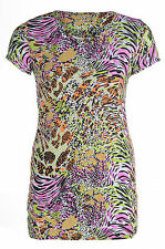Womens Plus Size Ladies Animal Print Multi Colour Plus Size Tunic Top