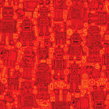 Robots Androids Fire Engine Red Robot Fabric Printed by Spoonflower BTY