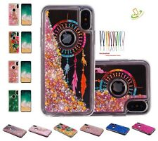 Apple iPhone X 10 Case Cover Bling Hybrid Glitter Liquid TPU Rubber Protective