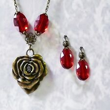 Charm Necklace and earrings bronze rose red crystal choose clip on pierced