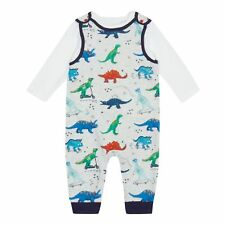 Bluezoo Kids Baby Boys' Multi-Coloured Dinosaur Print Dungarees And Top Set