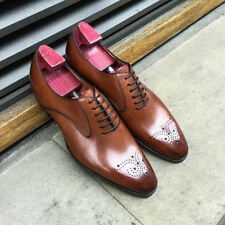 Leather Handmade Oxford Shoes Dress Men Brown Us Size Lace Up Dress Formal Shoes