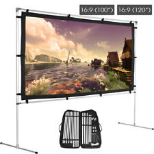 """100/120"""" Portable 16:9 HD Movie Projection Screen w/Stand & Carrying Bag Lot MF"""