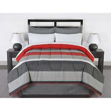 Striped Bedding Set Queen Comforter Sheets Pillow Cases Shams Bed Skirt Red Gray