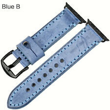 Apple Watch Italian Bridle Leather Blue Strap. High Quality. 38/42mm