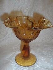 Vintage Amber Pressed Glass HoneyComb ThumbPrint Double Crimped Pedestal Compote