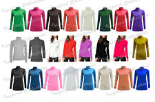 LADIES LONG SLEEVE POLO NECK ROLL NECK TOP WOMEN TURTLE NECK PLAIN Jumper 8-26