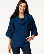 NEW STYLE & CO. Womens Blue Cowl-Neck Dolman-Sleeve Pullover Sweater Size LARGE