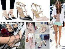 Womens Stud Metal Rivets Strappy Ankle Stilettos Ladies High Heels Pointed Toes