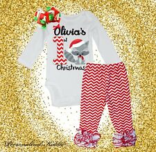 Personalized 3 pc. christmas chevron pants Outfit, My first christmas outfit, cu