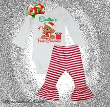 Personalized christmas 3 pc. stripe pants Outfit, My first christmas, cute chris