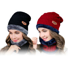 2PCS Men Women Beanie Hat Scarf Set Knitting Hat Warm Soft Thick Winter Ski Cap