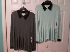 ELLE Woman's Long Sleeve Ribbed Collared Peplum Sweater Knit Top Size L  XL  NWT