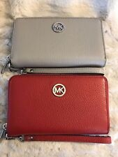 NWT MICHAEL KORS LEATHER FULTON MF PHONE CASE WRISTLET WALLET 2 COLOR CHOICES